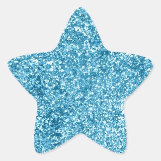 Mirada azul femenina del brillo de la chispa pegatina en forma de estrella