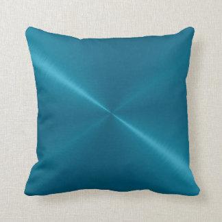 Mirada azul metálica del metal del acero cojín