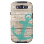 Mirada azul náutica femenina del ancla y de madera samsung galaxy s3 cárcasas
