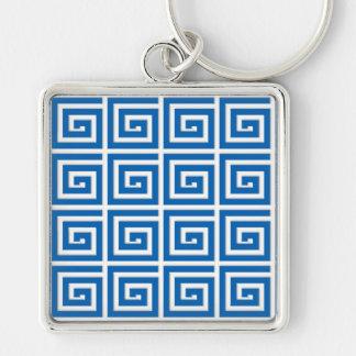 Mirada azul y blanca del diseño dominante griego - llavero cuadrado plateado