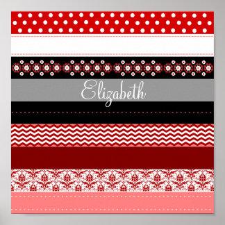 Mirada blanca negra rosada roja personalizada de l póster