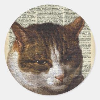 Mirada brillante del gato sobre una cerca pegatina redonda