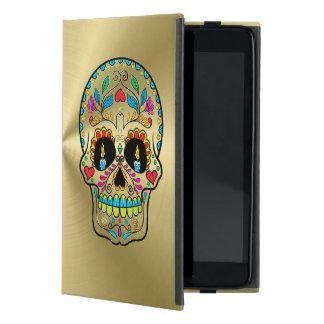 Mirada brillante del oro con el cráneo floral del iPad mini funda