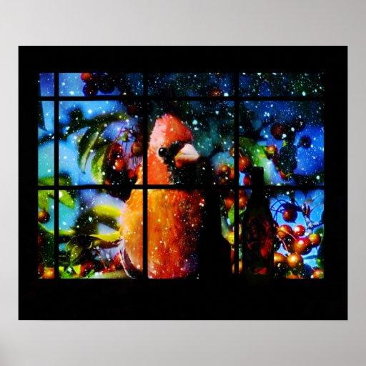 Mirada cardinal en ventana poster