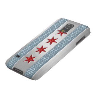 Mirada cepillada bandera del metal de Chicago Carcasa Para Galaxy S5
