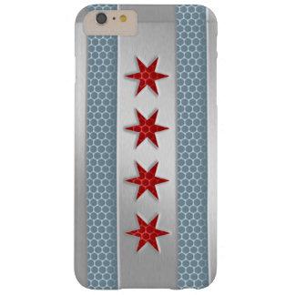 Mirada cepillada bandera del metal de Chicago Funda De iPhone 6 Plus Barely There