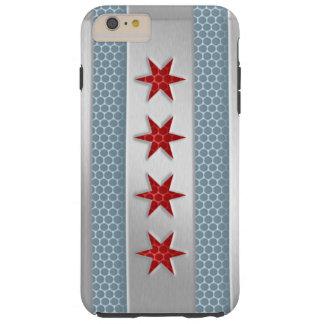 Mirada cepillada bandera del metal de Chicago Funda De iPhone 6 Plus Tough