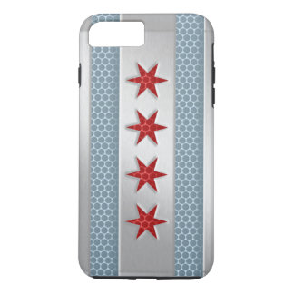 Mirada cepillada bandera del metal de Chicago Funda iPhone 7 Plus
