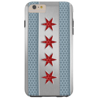 Mirada cepillada bandera del metal de Chicago Funda Resistente iPhone 6 Plus