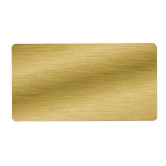 Mirada cepillada elegante del oro etiqueta de envío