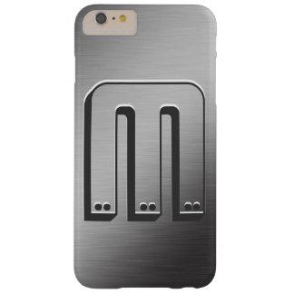 Mirada cepillada monograma personalizada del metal funda de iPhone 6 plus barely there