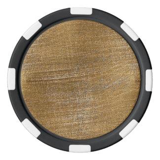Mirada cepillada rasguñada del metal del oro juego de fichas de póquer