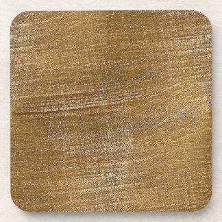Mirada cepillada rasguñada del metal del oro posavasos