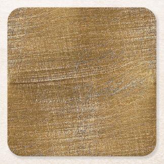 Mirada cepillada rasguñada del metal del oro posavasos desechable cuadrado