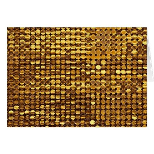Mirada chispeante de la lentejuela del oro tarjeta de felicitación