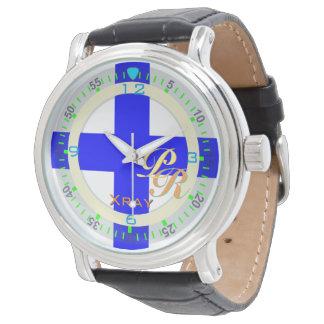 Mirada clásica de la bandera de la radiografía del relojes de pulsera