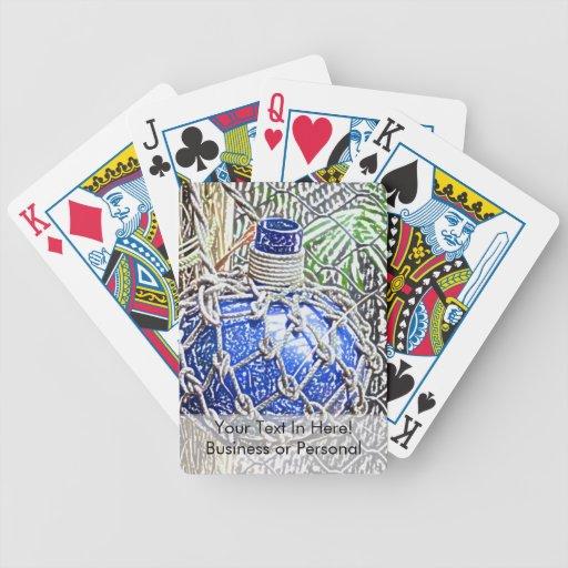 mirada coloreada azul del lápiz de la botella de c baraja de cartas