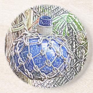 mirada coloreada azul del lápiz de la botella de c posavaso para bebida