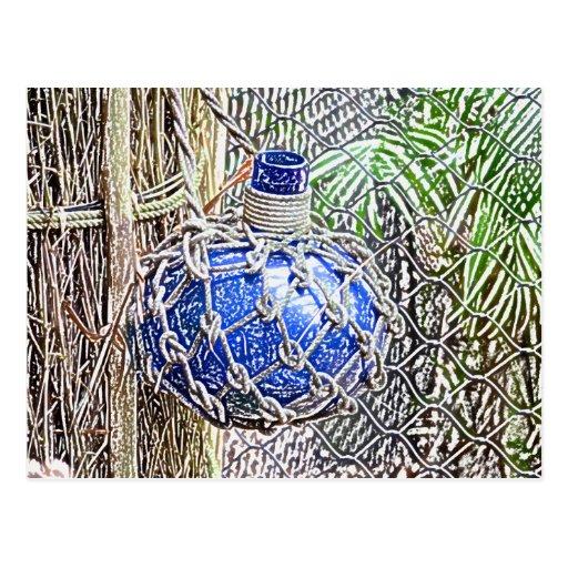 mirada coloreada azul del lápiz de la botella de c tarjeta postal