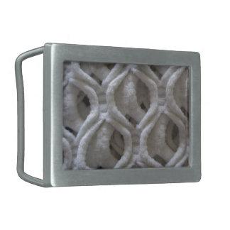 Mirada coloreada grisácea de la tela del ganchillo hebillas cinturon rectangulares