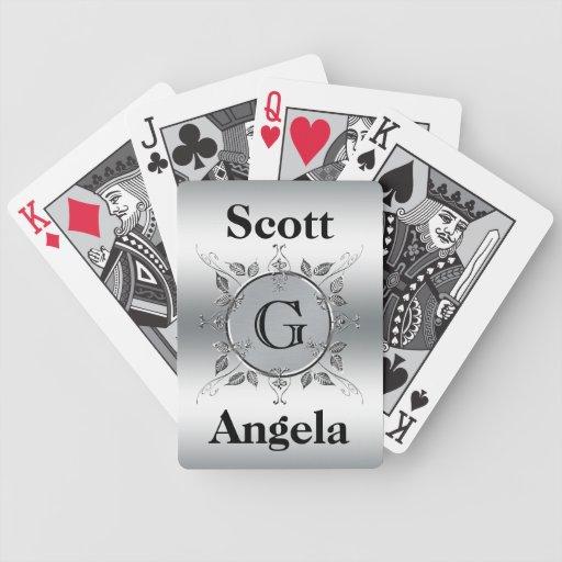 Mirada con monograma de encargo elegante del metal cartas de juego