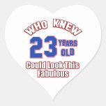 mirada de 23 años fabulosa calcomanía de corazón personalizadas