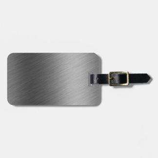Mirada de aluminio cepillada del metal etiquetas de equipaje