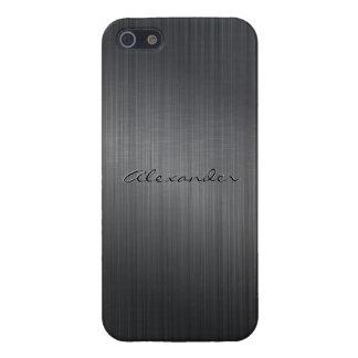 Mirada de aluminio cepillada metálica gris oscuro iPhone 5 funda
