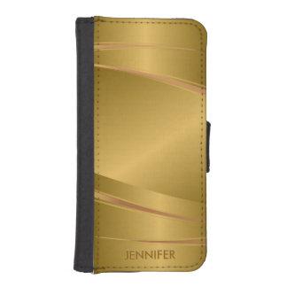 Mirada de aluminio cepillada oro metálico fundas billetera de iPhone 5