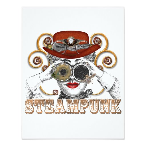 mirada de arte steampunked del collage del invitaciones personales