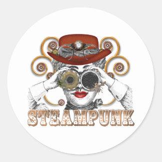 mirada de arte steampunked del collage del pegatina redonda