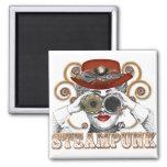 mirada de arte steampunked del collage del steampu imán cuadrado