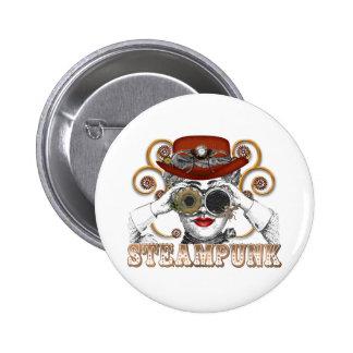 mirada de arte steampunked del collage del steampu pin redondo 5 cm