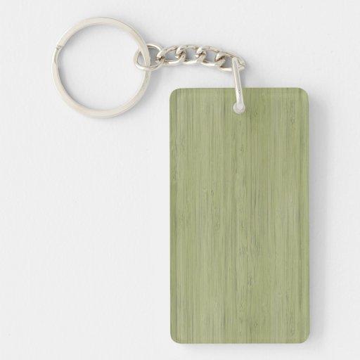 Mirada de bambú natural en verde de musgo llaveros