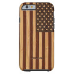 Mirada de bambú y bandera americana grabada de los funda de iPhone 6 tough