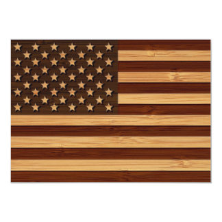 """Mirada de bambú y bandera americana grabada de los invitación 5"""" x 7"""""""