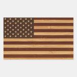 Mirada de bambú y bandera americana grabada de los pegatina rectangular
