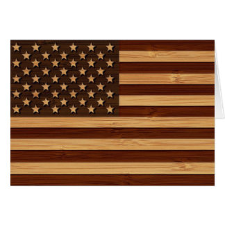 Mirada de bambú y bandera americana grabada de los tarjeta de felicitación