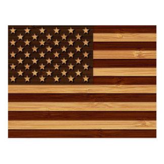 Mirada de bambú y bandera americana grabada de los postal