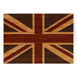 Mirada de bambú y bandera BRITÁNICA grabada Union  Tarjeta De Felicitación