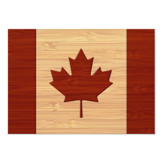 """Mirada de bambú y bandera grabada de Canadá del Invitación 5"""" X 7"""""""