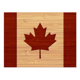 Mirada de bambú y bandera grabada de Canadá del Tarjetas Postales
