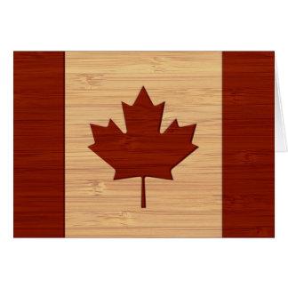 Mirada de bambú y bandera grabada de Canadá del vi Tarjeta De Felicitación