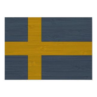 """Mirada de bambú y bandera grabada de Sverige del Invitación 5"""" X 7"""""""