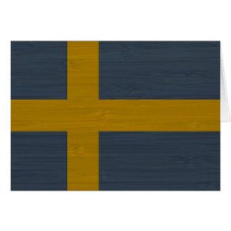 Mirada de bambú y bandera grabada de Sverige del s Tarjeta De Felicitación
