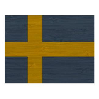 Mirada de bambú y bandera grabada de Sverige del Postales
