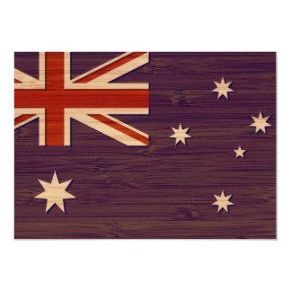 """Mirada de bambú y bandera grabada del australiano invitación 5"""" x 7"""""""