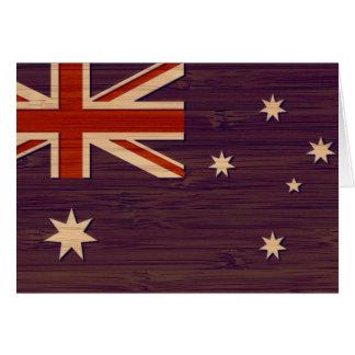 Mirada de bambú y bandera grabada del australiano  tarjeta de felicitación