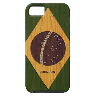 Mirada de bambú y bandera grabada del Brasil del iPhone 5 Fundas
