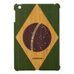 Mirada de bambú y bandera grabada del Brasil del v iPad Mini Cárcasa